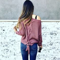I wore this cute lace up sweater on repeat during fall  #fallfashion #lookoftheday #getthelook #shopthelook #mylook