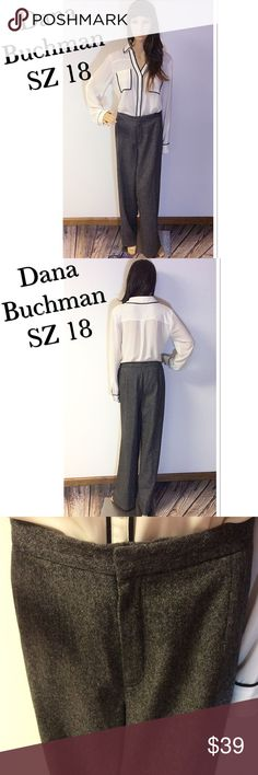 SZ 18 DANA BUCHMAN WOOL BLEND LINED TROUSERS/PLUS Black and gray mingled trousers with a button zip front and 2 elastic panels on the sides for extra stretch if needed. Fully lined.  See photo of material content Dana Buchman Pants Trousers