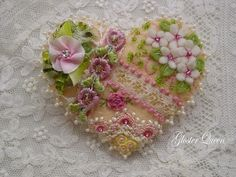 Dainty & sweet little crazy quilt  heart pin by GlosterQueen, $37.00
