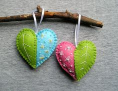 Spring Hearts Felt Ornament flowers handmade embroidery Handing, easter decoration, home decor, green blue pink white !!!!! PRICE PER 1 ITEM !!!!! Funny red hanging hearts with embroidery, embellished with tiny beads. Bright and funny felt heart decorations. You can hang these little
