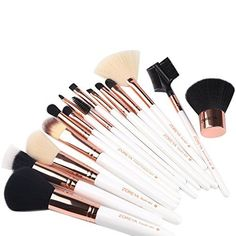 ZOREYATM Makeup Brushes 15 Piece Rose Gold Professional Makeup Brush Set Kit with Free Leather Case Bag Cosmetic Contour Lip EyeShadow Powder Blending Fan Brush * More info could be found at the image url.-It is an affiliate link to Amazon. #JustBecauseYouGift