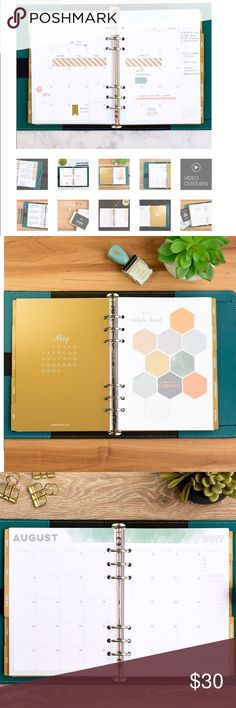Inkwell press 2017 A5 planner inserts w/ dividers https://inkwellpress.com/collections/a5-inserts/products/a5-livewell-inserts PAPER TYPE: 140 GSM Paper [equal to 100#] No Bleed Through or Shadowing on Pages DATES:  January - December 2017 DIVIDERS: Includes 14 Laminate Coated Dividers 250 GSM Paper HOLES: 6 Hole Punched SIZE: Pages are standard A5 size 5.75 x 8.25 inches inkwell press Other