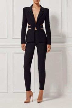2f0919b9503 A clean. sexy and chic design black pant suit v-neck button front jacket