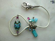 Bracelet en cuir nacre et jolie perle lampwork °°MiSS°° couleur turquoise by TaliBellule