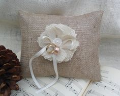 NEW  Burlap ring bearer pillow with burlap by ericacavanagh, $34.00