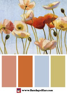 This is it, the color palette for porch. Paint wicker furniture light sky blue and cushions/rug will have rest of colors.
