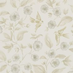 Sanderson - Traditional to contemporary, high quality designer fabrics and wallpapers | Products | British/UK Fabric and Wallpapers | Bird Blossom (DAEG213059) | Aegean Vinyl Wallpapers