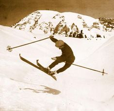 Vintage Ski Photo - Difficult Bank in Mid-air