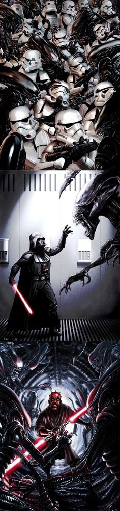 Star Wars Vs. Aliens - The storm troopers would be annihilated fairly quickly, Darth Vader would be a formidable opponent, and Darth Maul would take out quite a few aliens, but would eventually succumb to the aliens.