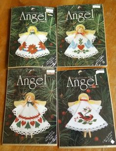 Four (4) Counted Cross Stitch Angel Ornament Kits Designs for the Needle #DesignsfortheNeedle #Ornament