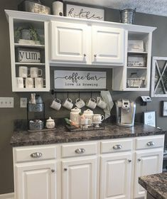 DIY Coffee Bar Ideas - Breathtaking drink stations in country style for small .DIY Coffee Bar Ideas - Breathtaking drink stations in country style for small rooms and small kitchens Kitchen Organization and Storage Coffee Bar Home, Kitchen Remodel, Kitchen Decor, Bars For Home, New Kitchen, Home Coffee Stations, Home Kitchens, Farmhouse Kitchen Diy, Diy Kitchen