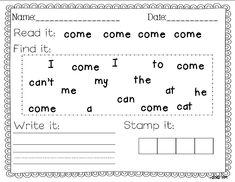 Miss Kindergarten: sight words