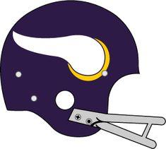 Minnesota Vikings Helmet Logo (1961) - Purple helmet, white and gold horn with grey facemask