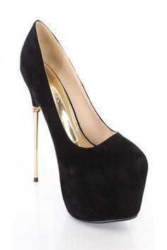 Black Platform Stiletto Pump High Heels Faux Suede