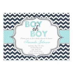 Boy Oh Boy Chic Chevron Baby Shower Invitation from Zazzle.com