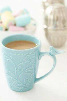 Turquoise and bird... I love this whimsical style. ☕