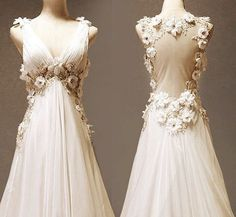 White Flowers Wedding Dress #wedding #dress www.loveitsomuch.com