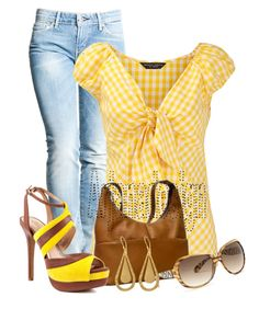 """""""Yellow gingham stripe blouse"""" by arjanadesign ❤ liked on Polyvore featuring Levi's, Dorothy Perkins, Le Donne, Jessica Simpson, BKE, Fremada and dailydenim"""