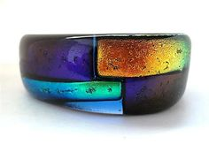 Dichroic Glass Bracelet/Fused Glass by DarlenesGlassGarden on Etsy, $50.00    this is gorgeous. my mom would love it too.