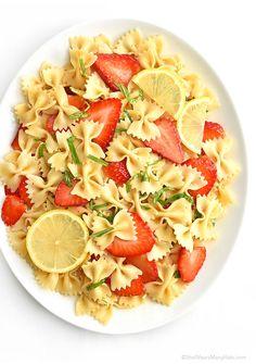 Strawberry Lemon Basil Pasta Salad