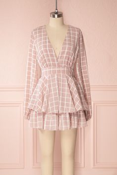 Lilouane #boutique1861 #onepiece #jumpsuit #pink #romper #windowpane #ruffle