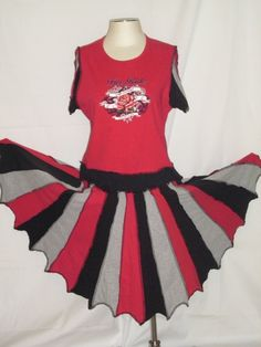 Upcycled Tshirt Pixie Dress Red Grey and by CindyliciousClothing, $60.00