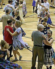 Contra Dance - Contra Dancing is a form of American folk dance in which the dancers form a set of two parallel lines which run the length of the hall. Each dance consists of a sequence of moves that ends with couples having progressed one position up or down the set. As the sequence is repeated, a couple will eventually dance with every other couple in the set