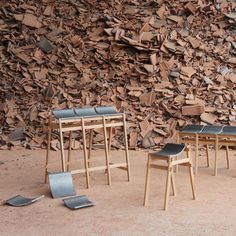 Tsuyoshi Hayashi has used discarded roof tiles to create curving seats for a series of stools and benches  ...