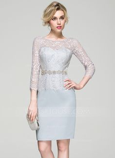 [US$ 139.99] Sheath/Column Scoop Neck Knee-Length Satin Lace Cocktail Dress With Beading