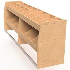 """""""Shorty Double"""" Half Height 3 Shelf – VanEquip NZ Van Storage, Truck Storage, Storage Ideas, Van Shelving, Shelves, Van Organization, Van Racking, Camper Van, Shoe Rack"""
