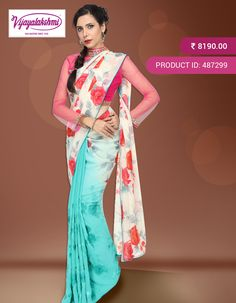 #TurquoiseGreen #Georgettesilk #Partywear  Designer Printed Georgette Silk Saree with beautiful pink and red roses  on the bottom of the saree.  http://www.vijayalakshmisilks.com/pearl-white-turquiose-party-wear-cocktail-wear-2