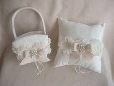 Wedding Ring Pillow and Flower Girl Basket Set by nanarosedesigns
