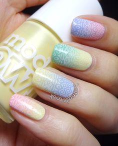 nail art - Easter gradient: Beth's Blue, Jade Stone, Pastel Pink & Lemon Meringue from Model's Own + Bundle Monster stamping plate 315