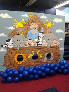 Noah's Ark Unique backdrops for Bible class, parties or Preschool events. Noahs Ark Craft, Noahs Ark Party, Noahs Ark Theme, Bible Story Crafts, Bible Stories, School Decorations, School Themes, Bible Activities, Activities For Kids