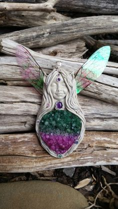 Agate dragonfly crystal clay fairy pendant handcrafted by Wakee's Wares on facebook