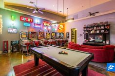 Get ready to lose track of time in this game room! From the arcade games to the pool table, this space is packed with everything that you need to have a good time.