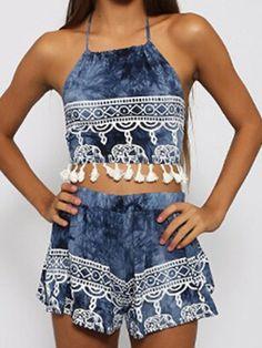 Blue Halter Backless Fringe Crop Top With Elephent Print Shorts