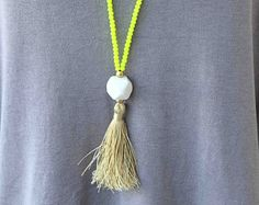 Neon Yellow Necklace. Summer Necklace. Long Tassel Necklace. Neon Yellow and Beige tassel necklace. Summer bohemian necklace