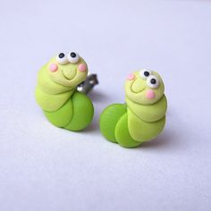 Green Caterpillar Polymer Clay Spring Easter Animal Bug by omifimo