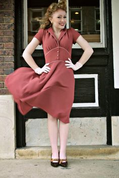 Ginger ~ 1950's Pale Burgundy Dress | La Vie en Swing Clothing