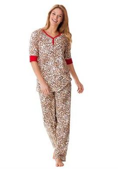 Print pj set by Dreams & Co® | Plus Size Pajamas - Sets | Woman Within