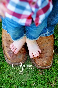too cute with the cowboy boots  ( my Baby boy and my husband will take a pic like this some day!) <3
