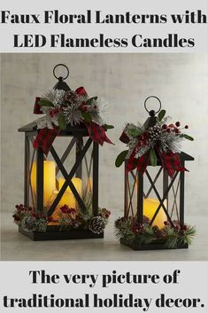 Lanterns include a most welcome touch of modern technology: Flameless LED candle for worry-free celebrating.  The very picture of traditional holiday decor.  #christmas #candles #lantern