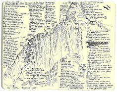 """These are a series of hand drawn topographical maps of first ascents published on the American Alpine Journal's site. The maps reveal relevant information, like pitch lengths, gear sizes, and route conditions. Topo maps are designed to help climbers """"read the rock."""" For first ascents, they guide and establish the foundation of data available for future climbers. And in the scribbles, sketches and notes, a small touch of personality shows through—a look at the heart of the climber."""