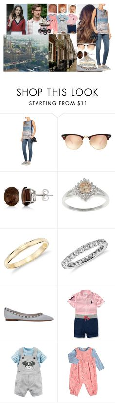 """""""Visiting her cousin John and Katie at their apartment in London with the kids"""" by charlottedebora ❤ liked on Polyvore featuring Current/Elliott, Ray-Ban, Allurez, Blue Nile, Valentino, Ralph Lauren, bluezoo, Ganz, John Lewis and Bebe"""