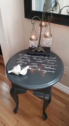 "Starla M. said, "" One thing that made me happy in 2016 was your lovely French poem stencil...fabulous all around...Love it!!""  She painted this small black side table usin gthe French Poem Craft Stencil from Cutting Edge Stencils.    French Poem Craft Stencil: http://www.cuttingedgestencils.com/french-poem-diy-craft-stencil-design.html"