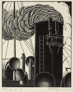 Print Makers | Eric Bergman ~ Steaming Up, 1935 (wood engraving)