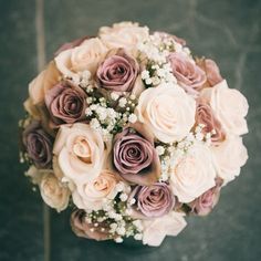Carol - Hannah loves this bouquet. It has the amnesia roses, quicksand, and I guess white or off white. Since her dress is white, I would probably go with white. But she would also love dusty miller around the perimeter if it doesn't get too wimpy. Dusty Rose Wedding, Rose Wedding Bouquet, Floral Wedding, Elegant Wedding, Rose Bouquet, Champagne Wedding Flowers, Trendy Wedding, Rustic Wedding, Rose Gold Wedding Dress
