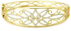 "Katie Decker ""Venetian"" 18k Yellow Gold and Diamond Cuff Bracelet Katie Decker"