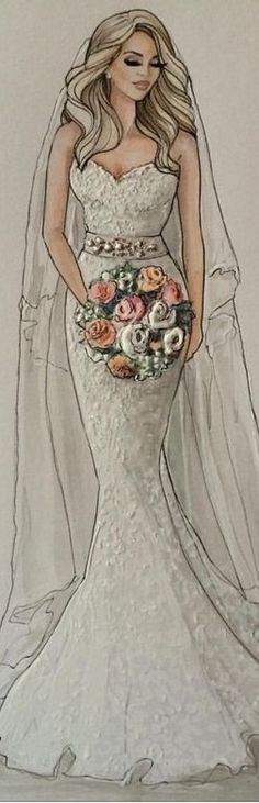 Bridal Fashion Illustration Wedding Dress Illustrations, Wedding Dress Sketches, Fashion Illustrations, Fashion Art, Fashion Models, Clothing Sketches, Fashion Sketchbook, Wedding Art, Fashion Design Sketches